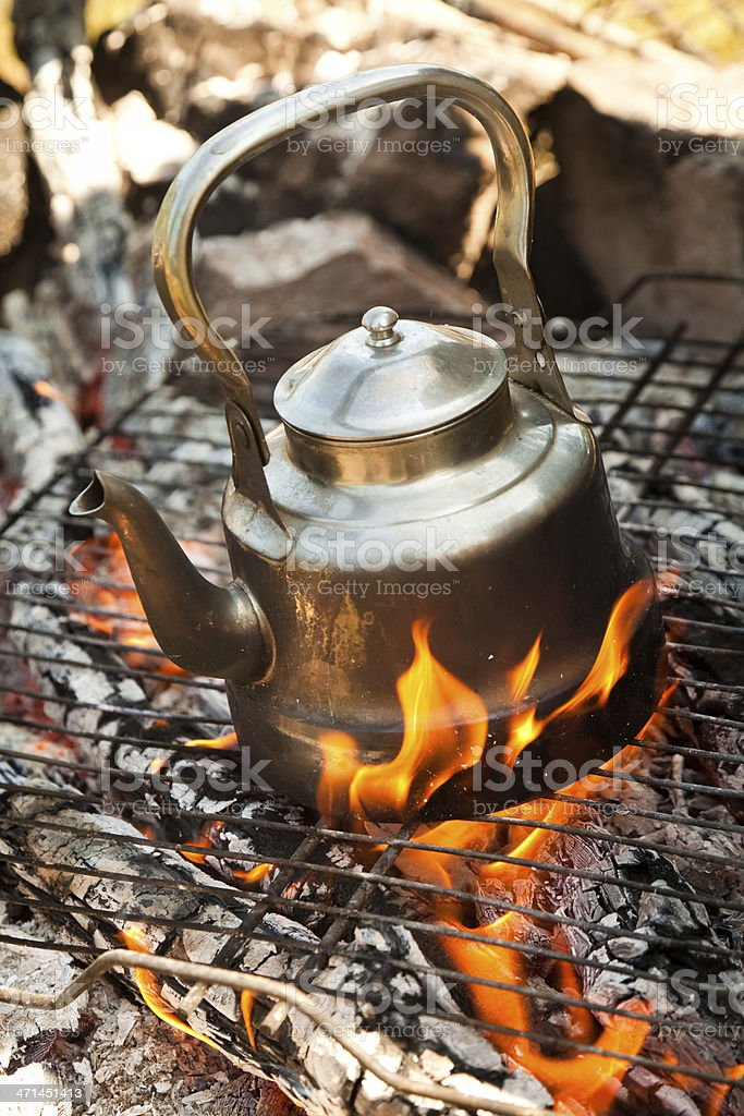 Camping Kettle boiling royalty-free stock photo