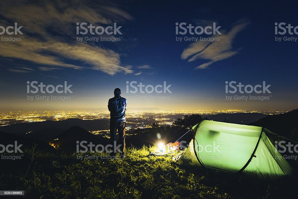Camping night stock photo