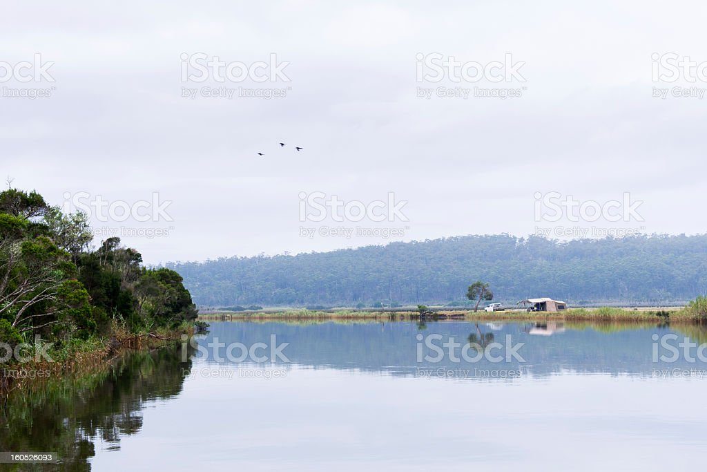 Camping on a Riverbank in Australia royalty-free stock photo
