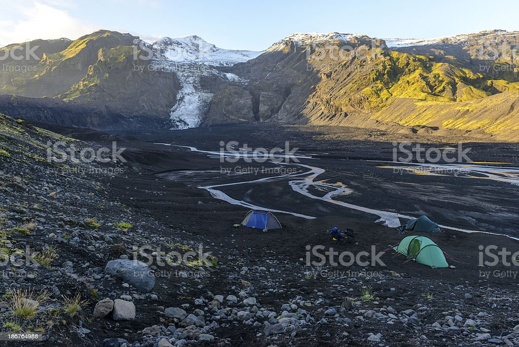 Camping on a volcano stock photo