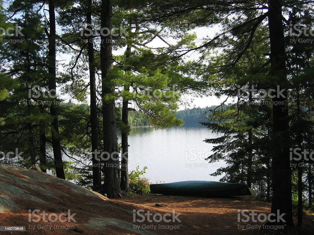 Camping on a wilderness lake stock photo