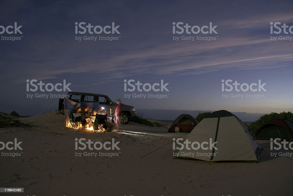 Camping on beach stock photo