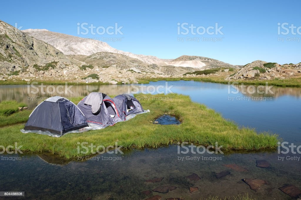 Camping on island stock photo
