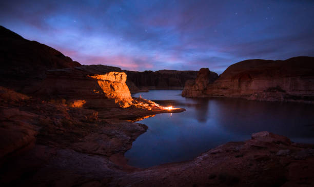 Camping on Lake Powell stock photo