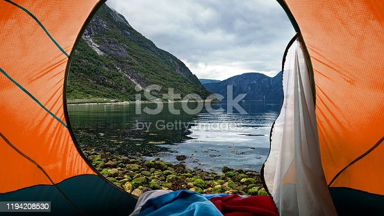 Looking out from a tent to a Mountain View