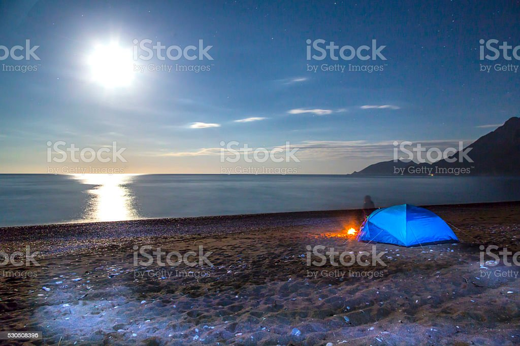 Camping On The Beach By Night stock photo