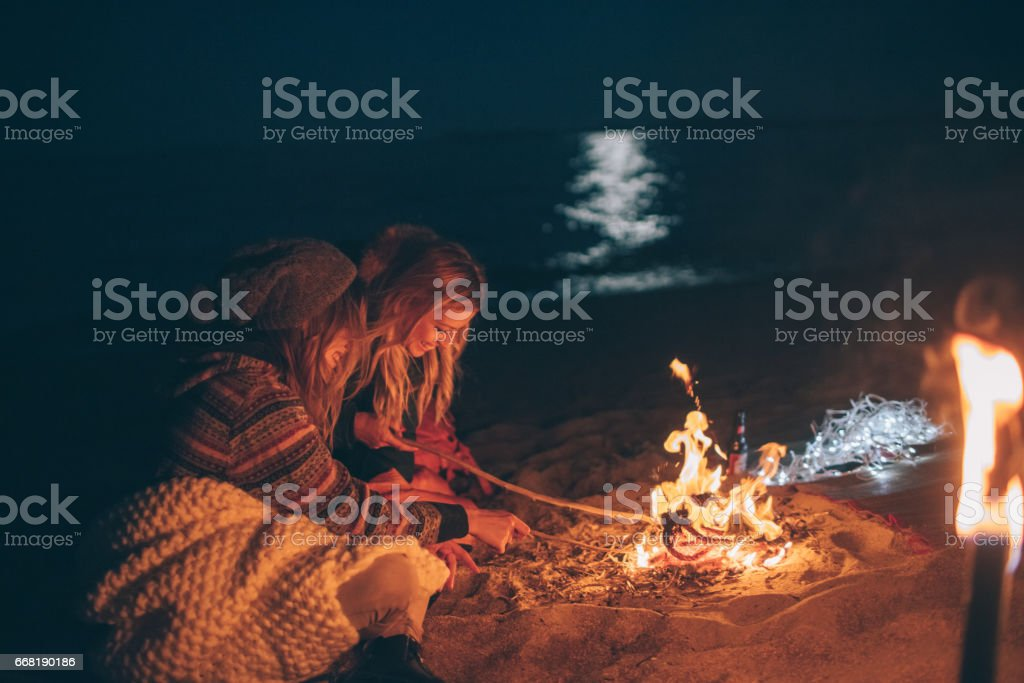 Camping on the beach by the sea stock photo