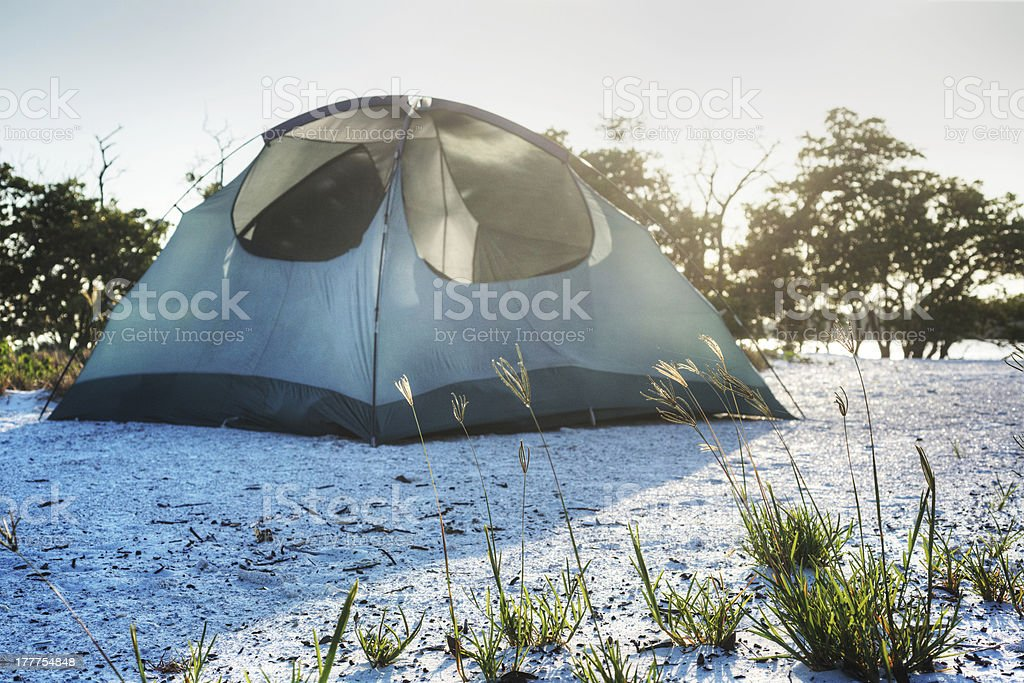 Camping on the Beach stock photo