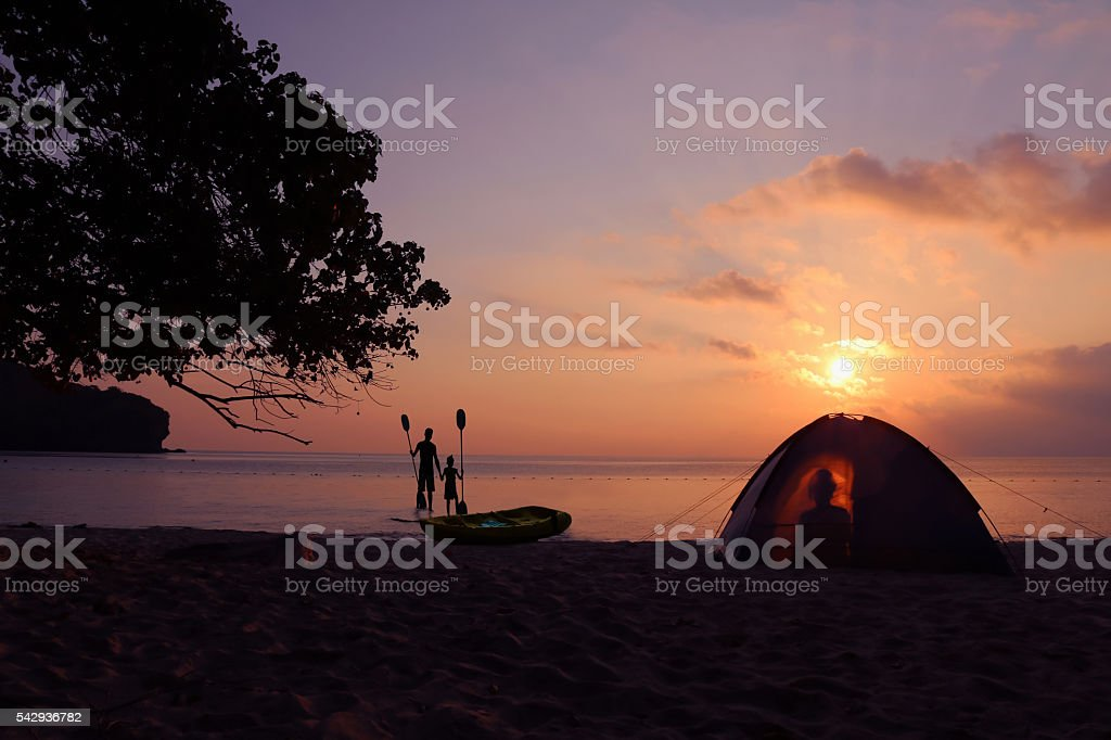 Camping on the beach. stock photo