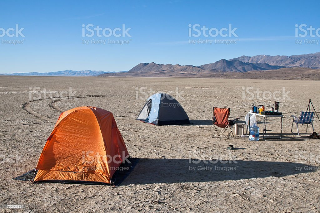 Camping on the Black Rock Desert stock photo
