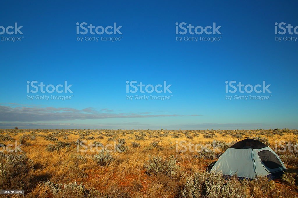 Camping on the Nullarbor Plain stock photo