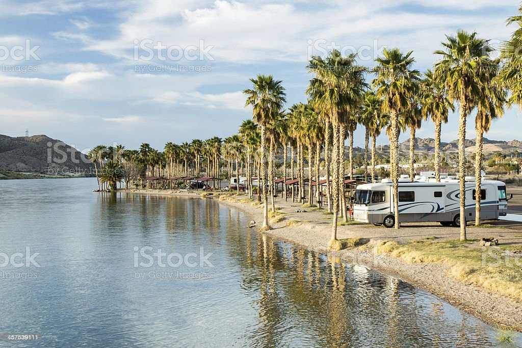 RV Camping on the Southern Colorado River stock photo