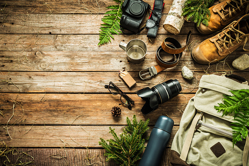 istock Camping or adventure trip scenery concept (flat lay) 1131178440