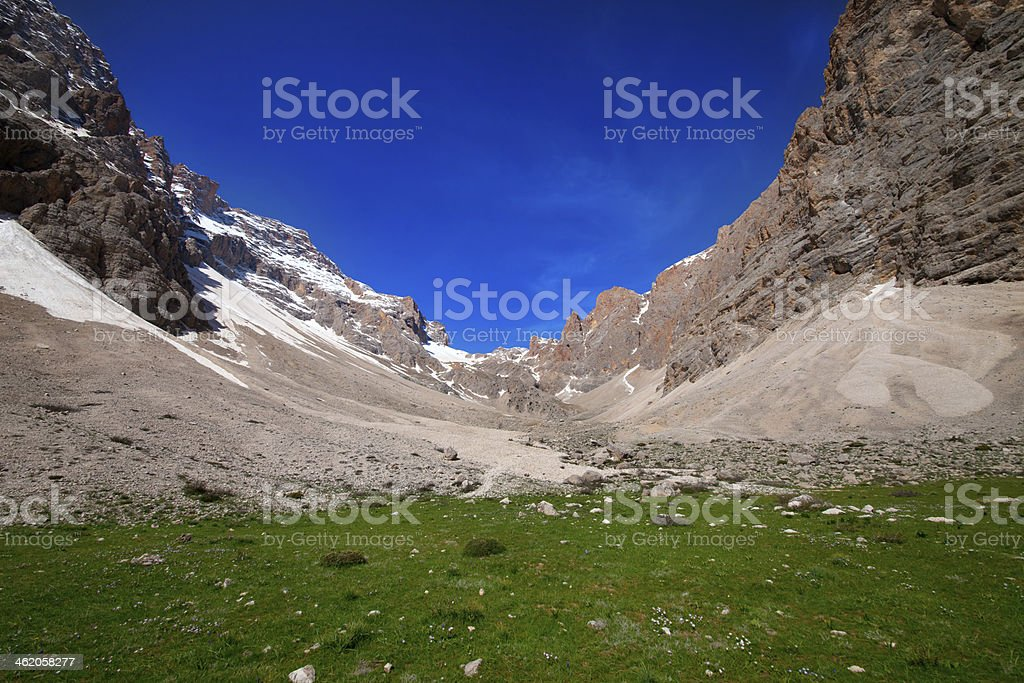 Camping place in mountain stock photo