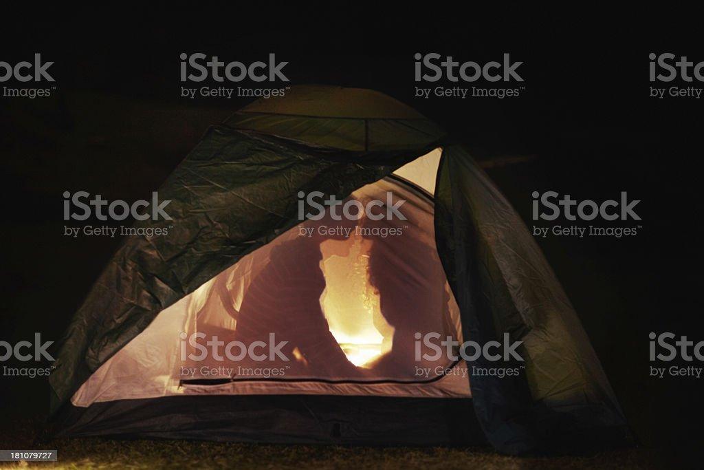 Camping romance stock photo