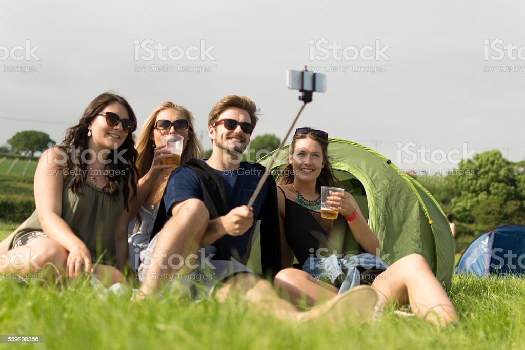 Camping selfie royalty-free stock photo