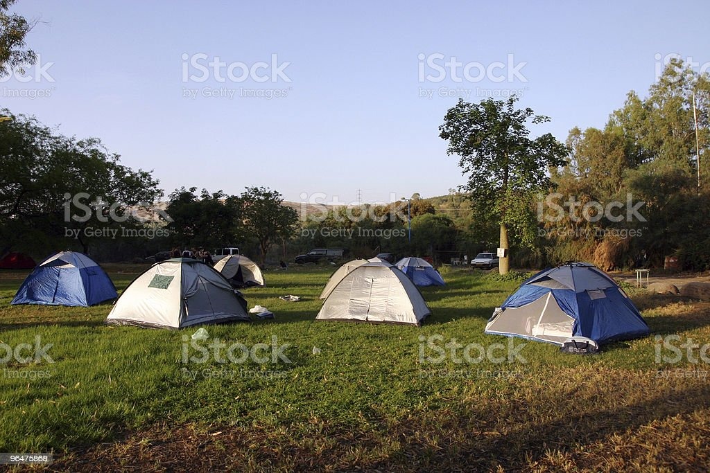 Camping site with tents royalty-free stock photo