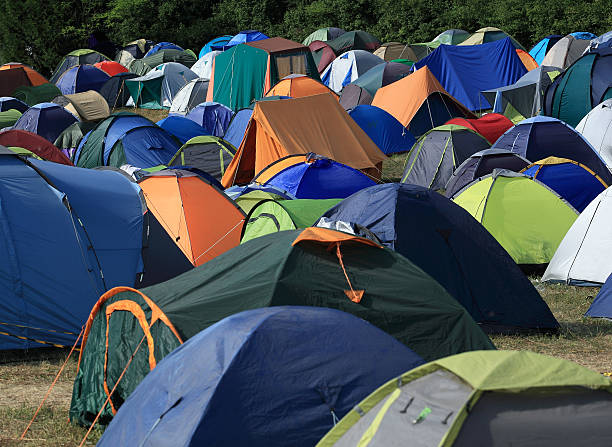 Camping sites with tents stock photo