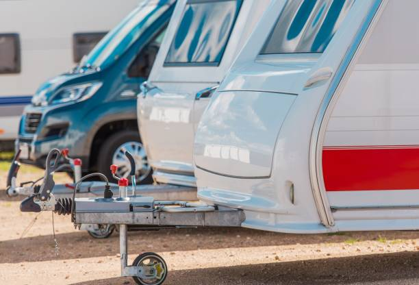 RV Camping Storage RV Camping Storage. Secured Parking Lot For Recreational Vehicles. motor home stock pictures, royalty-free photos & images