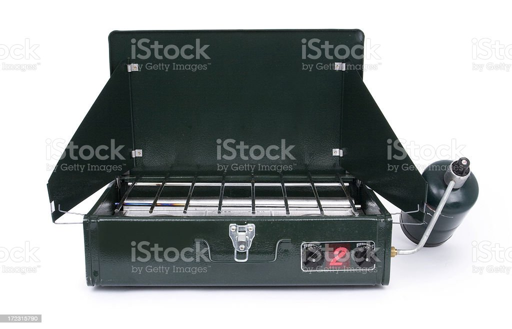 Camping stove with path stock photo