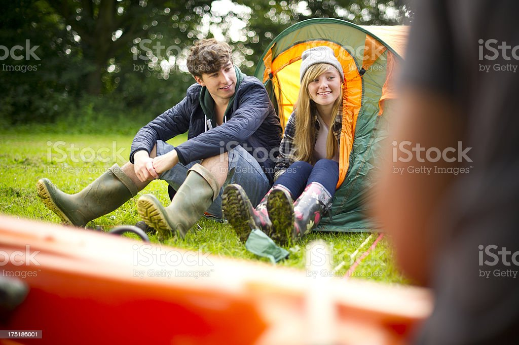 camping teenagers royalty-free stock photo