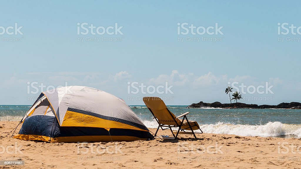 Camping tent, chair on romantic summer beach in Madagascar stock photo