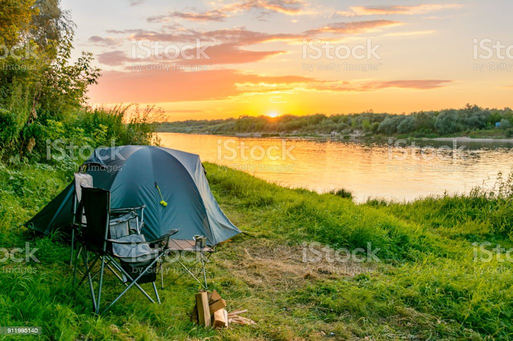 Camping Tent In A Camping In A Forest By The River Stock ...