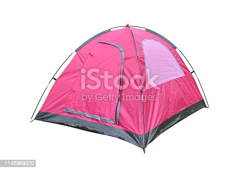 Camping tent isolate, Pink color dome tent on white background.