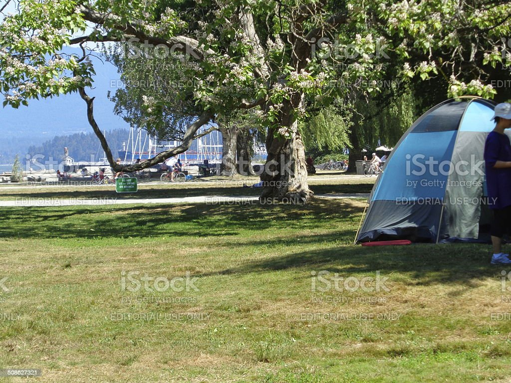 Camping tent on beach in Vancouver, B.C. stock photo