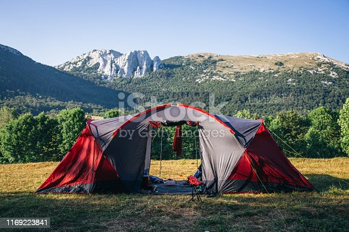 Camping Tent Outdoor Sport Hike Camp in Nature of Croatia, Velebit