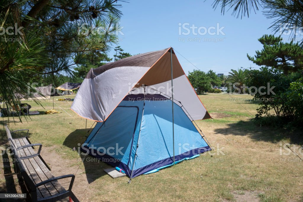 A camping tent stock photo