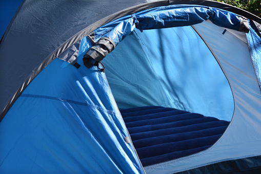 Empty tent set up outdoor in the nature. concept photo of travel outdoor.
