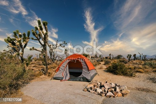 This image shows an empty camping tent in the middle of a remote desert landscape next to a fire pit.