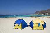 Camping tents by sea of Favignana island, Egadi Islands, sicily in italy