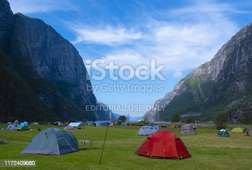 Camping tents in Lysebotn Fjord, Norway