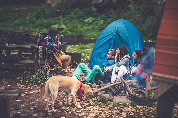 camping time - bankhaken stock-fotos und bilder