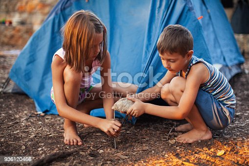 Little boy and girl preparing and setting up tent for camping. They are wearing casual summer clothes. Camp is located in forest with nice shade, but sun at sunset makes color vibrant and warm