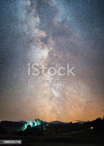 The Milky Way core setting, while people camp in the forest. Location - Galloway Forest Park, Scotland