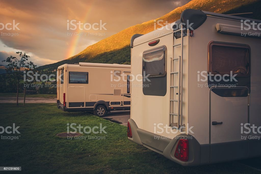 Camping Under the Rainbow stock photo