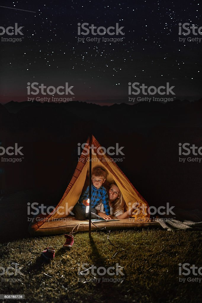 Camping under the starry sky stock photo