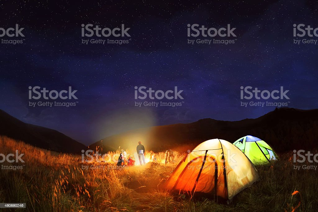 camping in the woods at night. Camping Under The Stars At Night Stock Photo In Woods