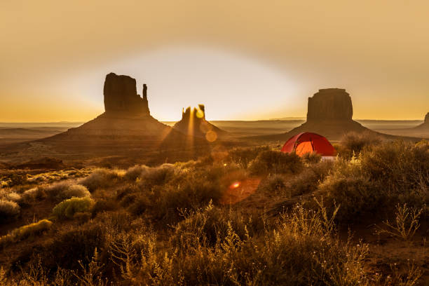 Camping with a tent in the Monument Valley stock photo