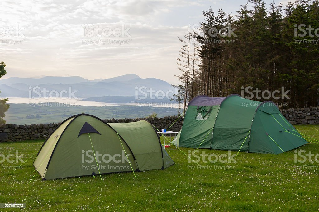 Camping with a view. stock photo