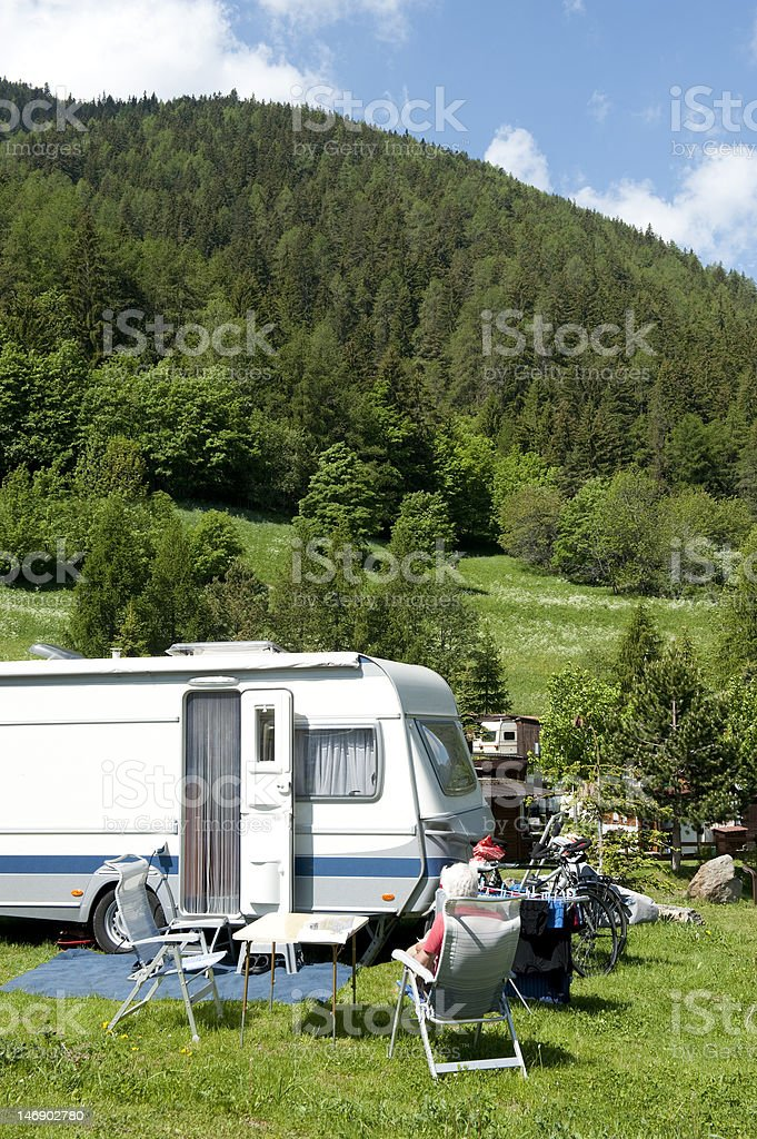 Camping with caravans stock photo