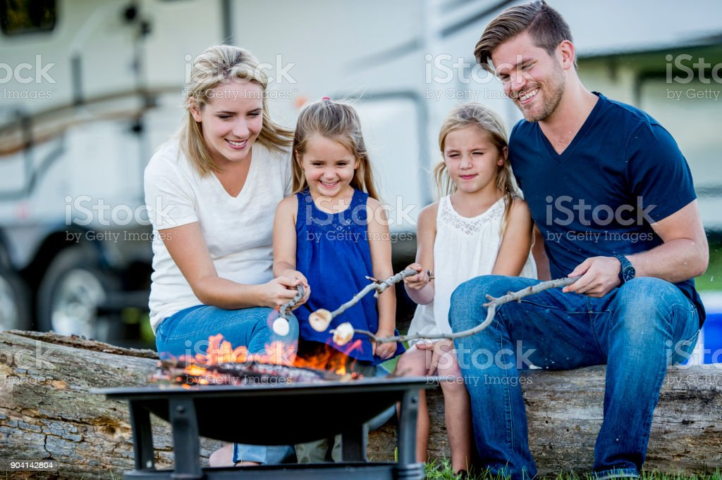 Camping With Family stock photo