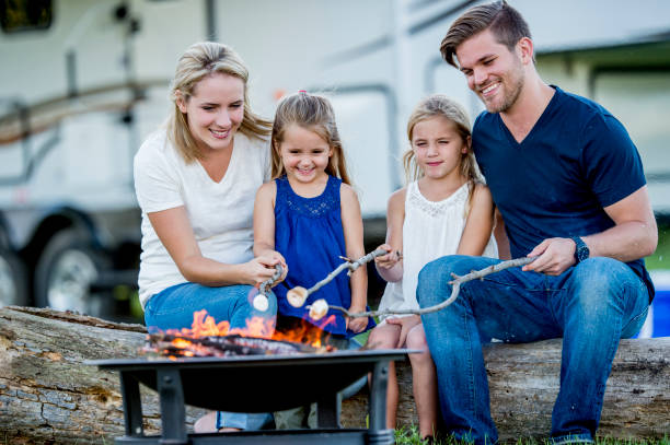 camping with family - motorhome stock photos and pictures