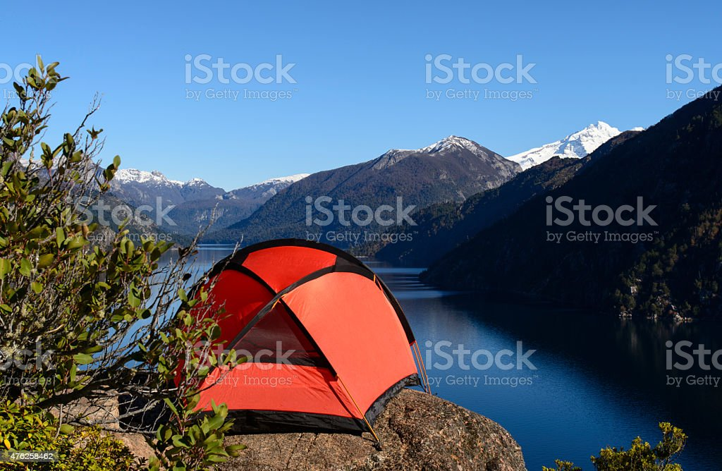 Camping With Lake View stock photo