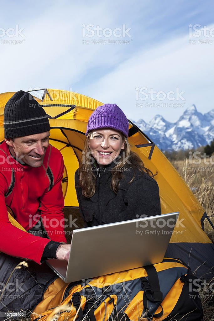 Camping with Laptop royalty-free stock photo
