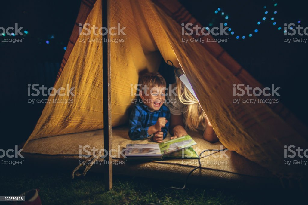 Camping with my mom stock photo