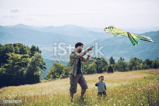 Father and son camping on mountain. They are happy to be in nature.